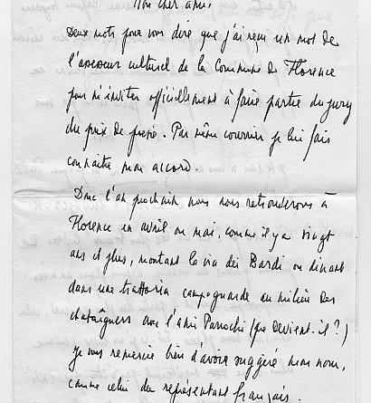 Lettera di Andrè Frenaud a Luzi (fronte) del 1968