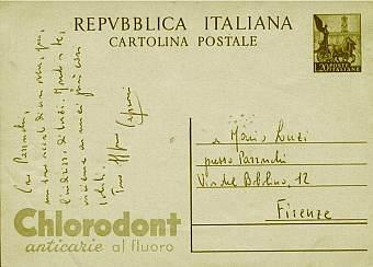 Retro della cartolina postale spedita nel 1929 da Caproni a Luzi