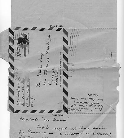 Biglietto postale di Salomon, traduttore americano di Luzi