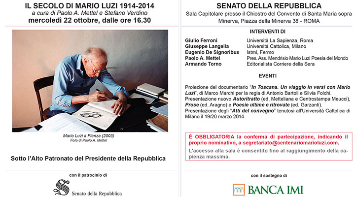"""22 ottobre 2014 """"Il secolo di Mario Luzi"""" Roma, presso il Senato"""